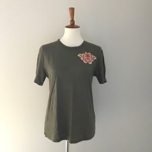 Anthropologie Flower Embroidered Shirt